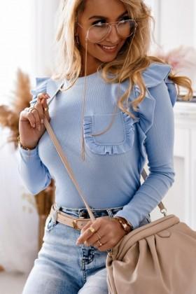 Bluza albastra din bumbac , buzunar la piept si volane  - 1