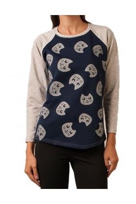 Bluza casual cu pisici  - 1
