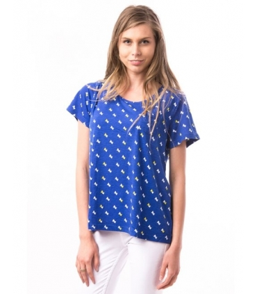 Tricou albastru cu triunghiuri albe si galbene  - 3