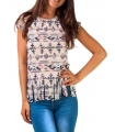 Tricou hippie cu imprimeu aztec si franjuri
