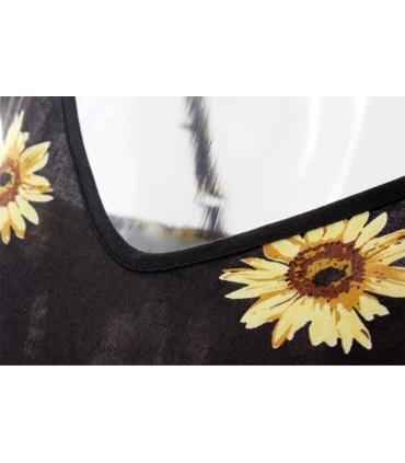 Salopeta scurta neagra cu imprimeu de floarea soarelui  - 2