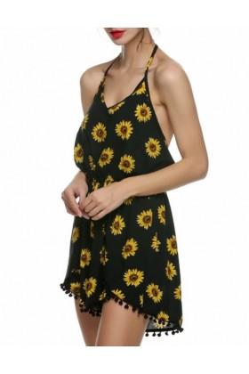 Salopeta scurta neagra cu imprimeu de floarea soarelui  - 4