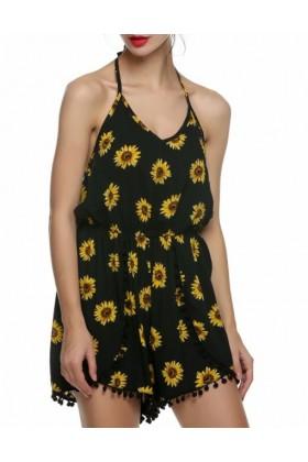 Salopeta scurta neagra cu imprimeu de floarea soarelui  - 8