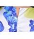 Salopeta scurta alba cu imprimeu floral galben si albastru  - 4