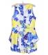 Salopeta scurta alba cu imprimeu floral galben si albastru  - 8