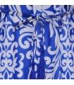 Salopeta scurta albastra cu imprimeu alb  - 6