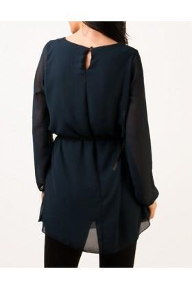Bluza eleganta bleumarin din voal  - 2