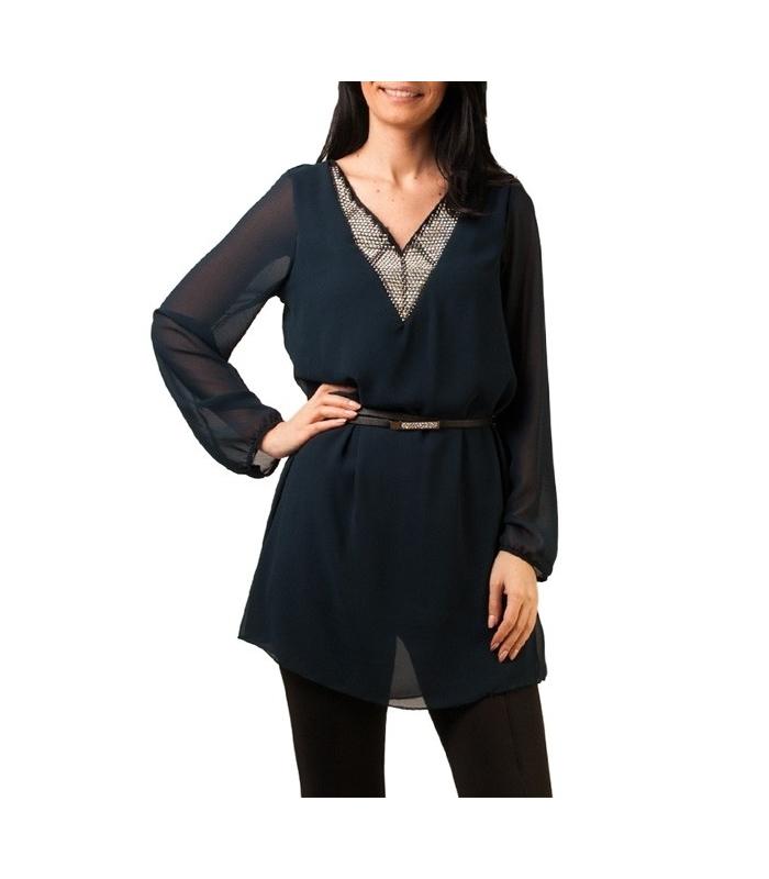 Bluza eleganta bleumarin din voal  - 1