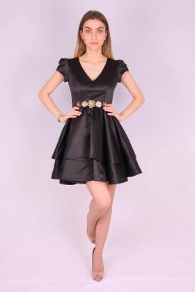 Rochie neagra din material satinat  - 2