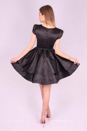 Rochie neagra din material satinat  - 3