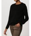 Bluza casual neagra cu insertii de piele  - 2