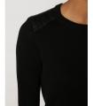 Bluza casual neagra cu insertii de piele  - 3