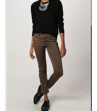 Bluza casual neagra cu insertii de piele  - 5