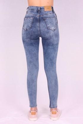 Blugi albastri cu dunga super skinny  - 3
