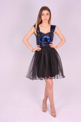 Rochie neagra baby doll cu paiete albastre  - 1