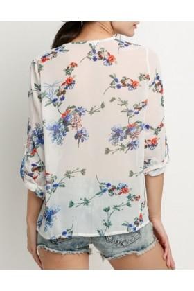 Camasa alba subtire cu imprimeu floral  - 3