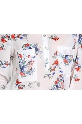 Camasa alba subtire cu imprimeu floral  - 4