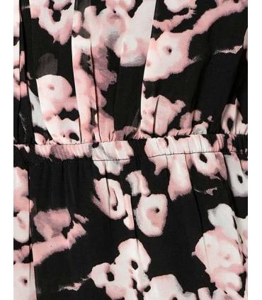 Rochie neagra lunga cu imprimeu floral  - 3