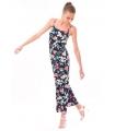 Rochie lunga bleumarin imprimata cu flori colorate  - 1