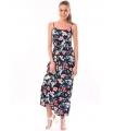 Rochie lunga bleumarin imprimata cu flori colorate  - 2