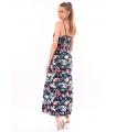 Rochie lunga bleumarin imprimata cu flori colorate  - 3