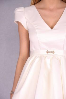 Rochie ivoire din material satinat  - 4