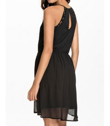 Rochie neagra eleganta cu voal si dantela  - 2