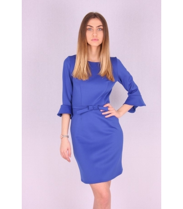Rochie albastra cu maneci largi si funda  - 2