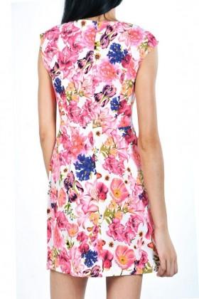 Rochie roz scurta cu buzunare si imprimeu floral  - 2