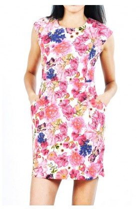 Rochie roz scurta cu buzunare si imprimeu floral  - 3