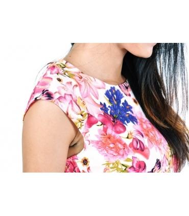 Rochie roz scurta cu buzunare si imprimeu floral  - 4