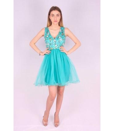 Rochie verde cu broderie multicolora si bust buretat  - 2