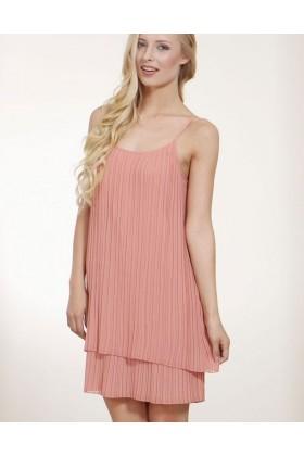 Rochie roz pudrat cu pliuri eleganta  - 2