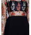 Rochie neagra cu plasa si broderie cu flori  - 2