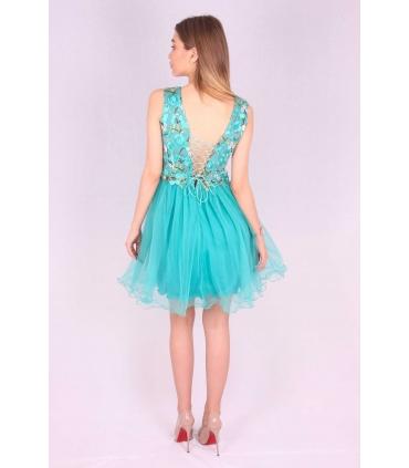 Rochie verde cu broderie multicolora si bust buretat  - 4
