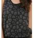 Rochie neagra scurta cu detalii din piele ecologica  - 2