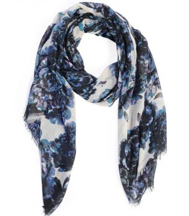 Esarfa alba cu imprimeu floral albastru  - 1