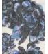 Esarfa alba cu imprimeu floral albastru  - 3