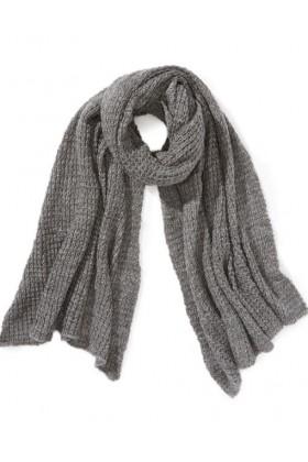 Fular tricotat gri deschis  - 1