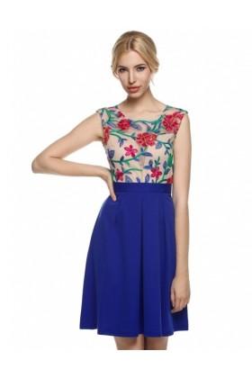 Rochie albastra cu plasa nude si broderie florala  - 1