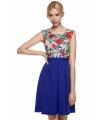 Rochie albastra cu plasa nude si broderie florala
