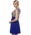 Rochie albastra cu plasa nude si broderie florala  - 2