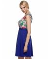 Rochie albastra cu plasa nude si broderie florala  - 3