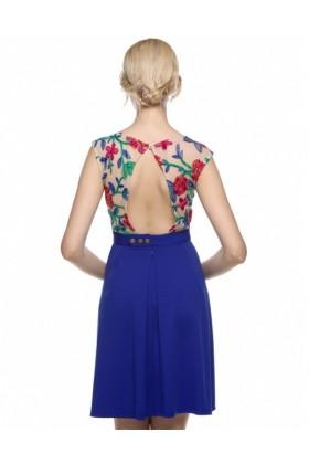 Rochie albastra cu plasa nude si broderie florala  - 4