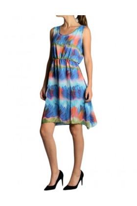 Rochie albastra din voal cu imprimeu multicolor  - 1