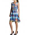 Rochie albastra din voal cu imprimeu multicolor