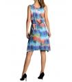 Rochie albastra din voal cu imprimeu multicolor  - 2