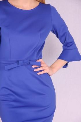 Rochie albastra cu maneci largi si funda  - 3