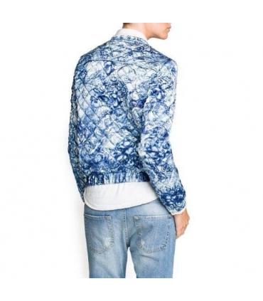 Bomber jacket alba cu imprimeu floral albastru  - 2