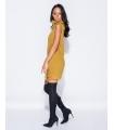 Rochie galben mustar tricotata, guler inalt, fara maneci  - 1
